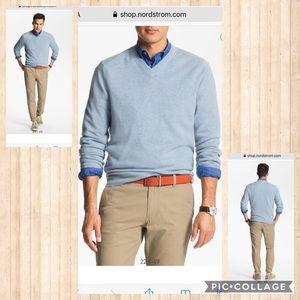 John W Nordstrom blue v-neck cashmere sweater